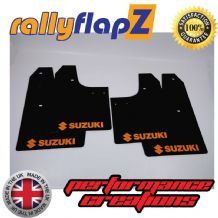 SWIFT 2ND GEN (2008-2010) BLACK MUDFLAPS (Logo Orange)